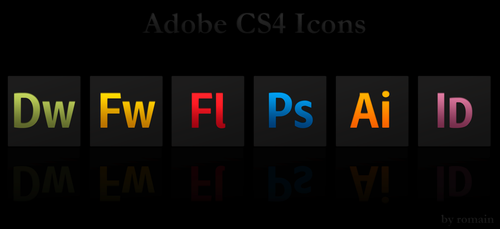 Adobe CS4 Black Icons by 0oRomaino0