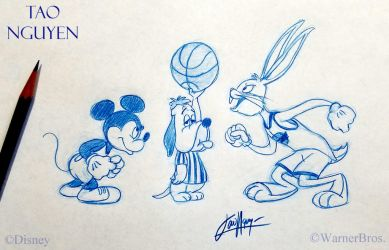 Tao Nguyen's Basketball Mickey and Bugs Doodle by TaoNguyenArts