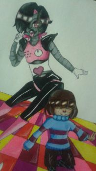 Mettaton and Frisk 2 by Dannanariko