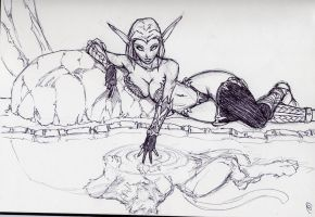 Night Elf druid sketch by Bradwells