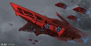 Red Rose Command Ship by PeterPrime