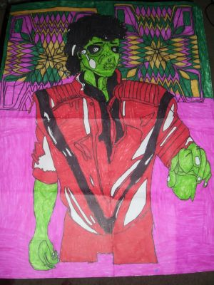 Michael Jackson Thriller Design Drawing by NWeezyBlueStars23