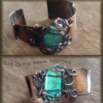 Fused Glass and CopperBracelet by bgfdesigns