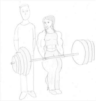 muscular girlfriend by robhalford