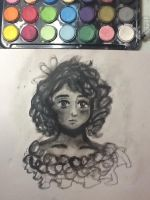 greyscale watercolour by LinasWorkshop