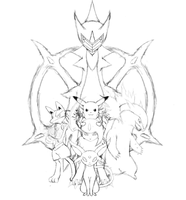 My Pokemon Team Remake Sketch by JamalC157