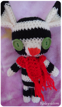 Tim Burton inspired Striped Amigurumi Bunny by Meowkernaut