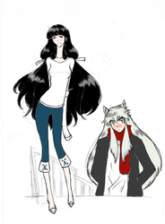 Kikyou and Inuyasha Walk by TheDemonofDesire