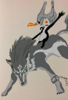 Midna and Link Wolf Form by timetwiste