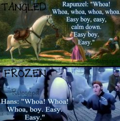 Tangled and Frozen- Whoa boy, easy, easy- scene by Rijogepa