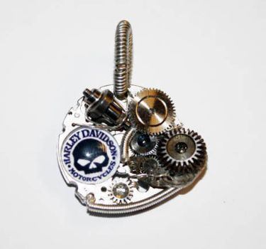 Steampunk HARLEY Altered Art Pendant by Create-A-Pendant