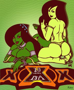 10th D.A.nniversary: Desiree and Shego Colors by DaCommissioner