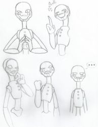 FNaF 2 Puppet Rough Sketches by Metacookie