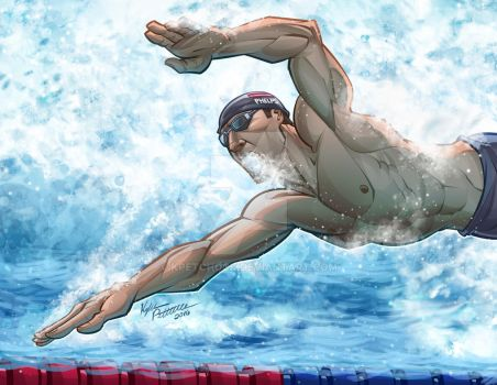 Michael Phelps Swimming the Fly by kpetchock