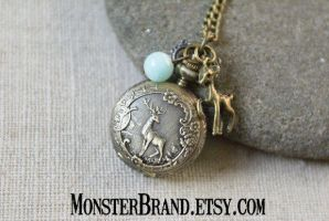Tiny Deer Pocket Watch Necklace by MonsterBrandCrafts