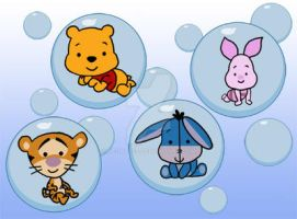 Pooh and friends in bubbles by necral25