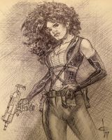 Deadpool 2 Domino Ballpoint Sketch by DrewEdwardJohnson