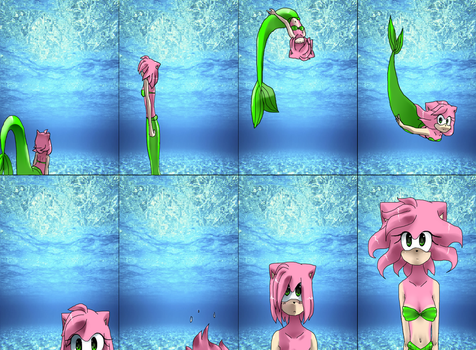 Request - Amy Rose mermaid by ReyCupcake