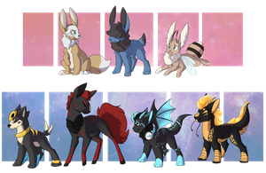Pkmn:: Puppies and Foxes Clutch {Closed} by CollyWobblies