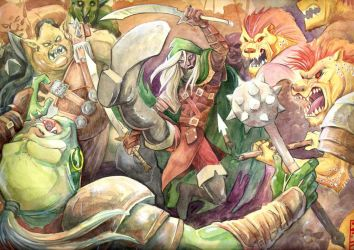 Drizzt fighting. by Silvenger