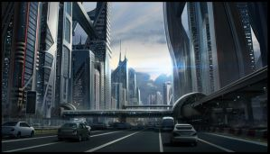 Sci-fi Cityscape by SebastianWagner