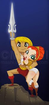 He-Man and Teela by mashi