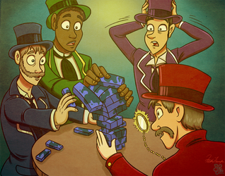 Top Hats and Jenga - Commish 2/2 by hrfarrington