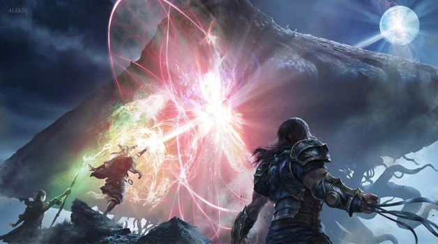The Gatewatch fighting Emrakul by Aleksi--Briclot