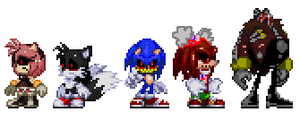 Sonic exe and his victims (Modern version) by WarchieUnited