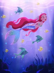 Mermaid Swimming with Fish by DylanBonner