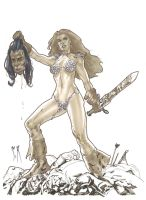 Red Sonja Sketch by StephaneRoux