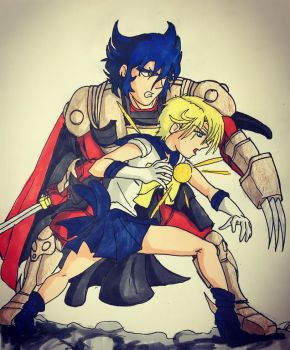 Cale and sailor Uranus  by RubenEsquivel1985