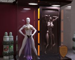 Princess Leia Carbonite Trophy Case with Bikini by thejpeger