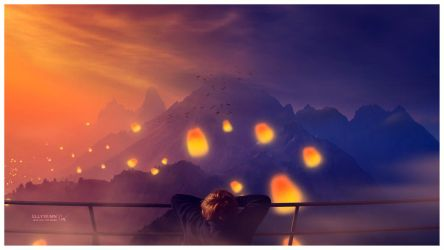 Sunset lanterns by Ellysiumn