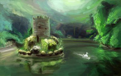 Floating Castle Speedpaint by BlackDelphin