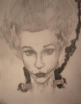 Bride of Frankenstein sketch by kjarnold
