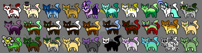 -OPEN- 1-2 point cat adoptables! 25-30 by Crowfeather6789