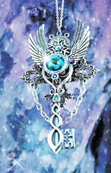 Frost Whisper Skeleton Key Necklace by ArtByStarlaMoore