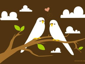 Budgie Love Wallpaper by bombthemoon