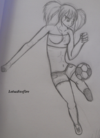 soccer ball babe by LotusFoxfire