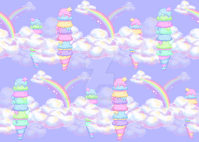Fabric Design - Ice Cream Skies by CloverWing