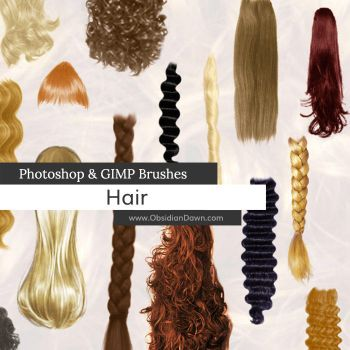 Hair Photoshop and GIMP Brushes by redheadstock