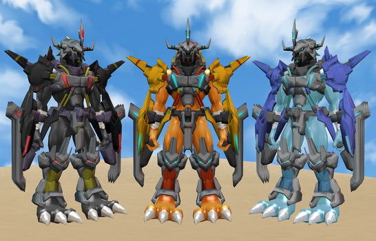 WarGreymon X Trio by DarkKomet