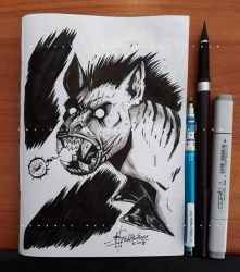 Werehyena Sketch - 2018 by Ben-G-Geldenhuys