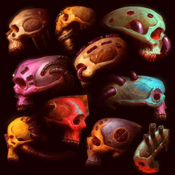 skull sketchezzzzz by LostKeep