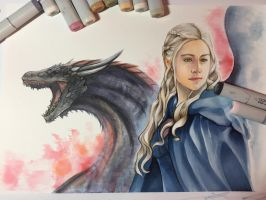 Daenaerys copic Portrait  by Yunuyei