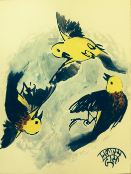 Warbler Composition, sumi ink and watercolor, 2016 by EkashmaDas