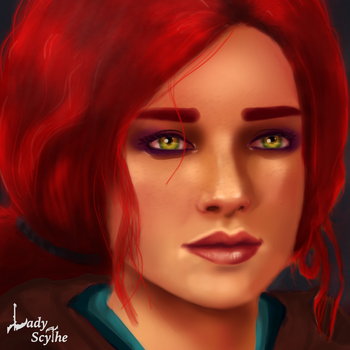 a portrait with Triss by Lady-Scythe