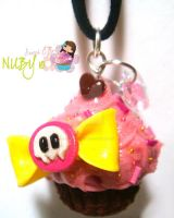 Cute Skull Cupcake necklace by colourful-blossom