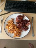 BBQ Ribs And Sweet Potato Chips by Louisetheanimator